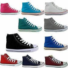 NEW LADIES WOMENS HIGH TOP UNISEX CANVAS SNEAKERS LACE UP ANKLE PLIMSOLLS BOOTS