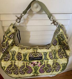 Petunia Pickle Bottom Diaper Bag Tote Purse/Green/Purple Peacocks - Embroidered