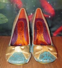 Irregular Choice Womens Light Blue and Gold Paisley With Worn Once Pumps size 37