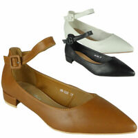 Womens Low Heel Ankle Strap Pointed Court Work Office Shoes Ladies New Shoes Siz