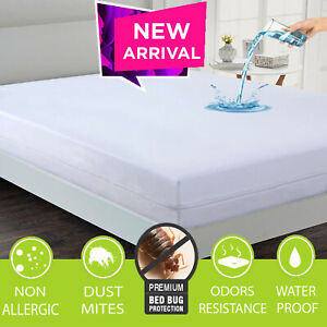 Anti Bed Bug Zipped Waterproof Mattress Total Encasement Protector Cover Double