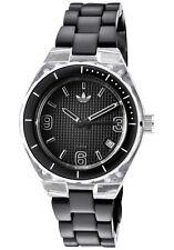 NEU Adidas Mini Cambridge schwarz thermoplastischen Band Datum Women Watch 35mm adh2536