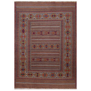 <7455> Excellent Hand-Knotted Afghan Amazing Flat Weave Kilim Rug 4' 6 x 6' 3 ft