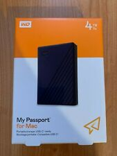 WD 4TB My Passport FOR MAC Portable External Hard Drive, Blue