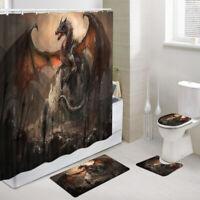 Evil Dragon and Castle Shower Curtain Toilet Cover Rug Bath Mat Contour Rug Set