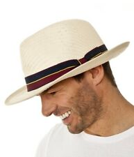 Men's Summer Panama Style Fedora Straw Hat With Guards Stripe Band 14120