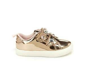Carters Toddlers Gold Metallic Casual Sneakers Darla SIZE: 4 6 8 NEW Rhinestones
