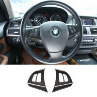2*Carbon Fiber Steering Wheel Switch Button Cover Trim for BMW X5 E70 2008-2013