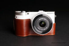 Handmade Genuine real Leather Half Camera Case bag cover for Samsung NX300 brown