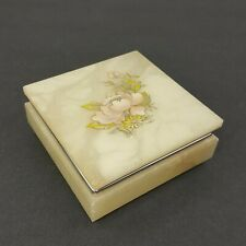 Vintage Genuine Alabaster Stone Jewelry Box Hand Carved in Italy Floral Flower