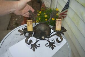 Vintage Wrought Iron Spanish Revival Gothic Dual Electric Wall Sconce