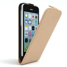 Tasche für Apple iPhone 5C Flip Case Schutz Hülle Handy Cover Hellbraun