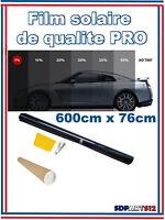 Film Solaire Noir Qualité Pro 6m X 76cm Teinté 1%Vlt 1%Pro2 Auto Batiment