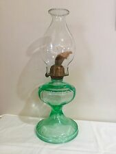 green depression glass uranium vaseline oil lamp GIANT queen burner + chimney