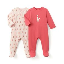 LA REDOUTE BABY GIRLS PACK OF 2 SLEEPSUITS PINK AGE 18 MONTHS NEW (ref 370)