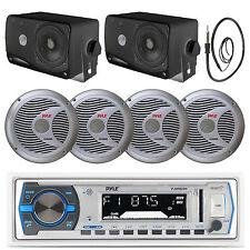 "Silver Marine 6.5"" Speakers,Antenna ,3.5"" Box Speakers,White Bluetooth USB Radio"