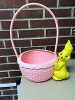 Vintage Plastic Blow Mold BUNNY Easter Basket  Rabbit Molded Rare Kitsch 1950's