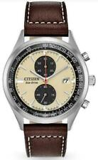 Citizen Chandler Eco-Drive Ivory Dial Leather Band Men's Chrono Watch CA7020-07A