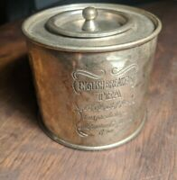 Vintage English Breakfast Tea Round  Container Silver Plated Canister