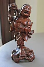 Exquisite 19th Century Chinese Immortal Wood Carving Figure Buddha Laughing