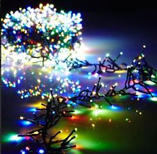44 Foot Christmas Cluster Lights with 1300 Multi Color LED Garland - Green Wire