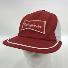Vintage Budweiser Trucker Hat Cap Patch Snap Back Mesh 1980s