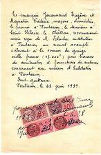 RECU ACOMPTE FACTURE 1939 MACON JOUANNAUD EUGENE MIGNATON FREERIC  A PONTARION