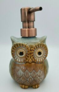 Owl Ceramic Soap Dispenser Blue and Beige New Fall Decor 6'' Tall