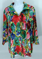 COLDWATER CREEK Women's Blouse Floral Multi-Colored 3/4 Sleeve Button Blouse