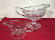 LOT 2 GRAVY BOATS LARGE CRYSTAL CUT SMALL GLASS HANDLED POUR SPOUTS