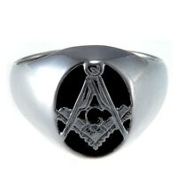 Sterling Silver Onyx Masonic Ring & Gift Box - Range of sizes available