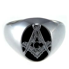 More details for sterling silver onyx masonic ring & gift box - range of sizes available