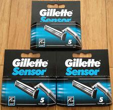 15 Gillette Sensor Regular Shaver Razor Blade Refill Cartridges Genuine 3 Packs