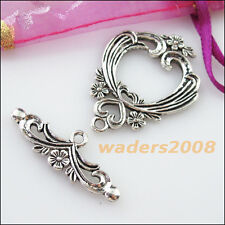 2 New Connectors Necklace Heart Flower Toggle Clasps Tibetan Silver