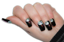 TIPS UNGHIE FINTE DECORATE FRENCH TIP 12 PZ HALLOWEEN TESCHIO NERO BIANCO