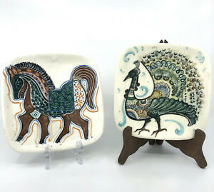 Art Pottery Ceylon Wall Plaque x 2 Horse and Peacock 6.75in Hand Painted Vintage