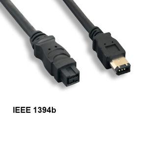 Kentek 3' 9 to 6Pin IEEE1394b Firewire Cable 800/400Mbps Bilingual PC MAC DV Blk