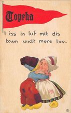 Topeka KS Iss In Luf Mit Dis Town Undt More Too~Dutch Kids Pennant~Zurcher c1913