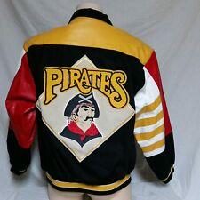 VTG Pittsburgh Pirates Jeff Hamilton Leather Denim Jacket 90s Coat MLB Bomber XL
