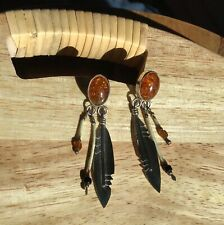 Native Quill Bead Feather Earrings Vintage Pawn Amber Sterling Silver Southwest