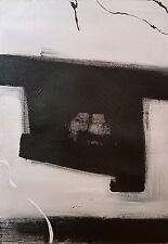 Original pintura abstracta moderna contemporánea Acrílico Arte Lona Blanco Negro