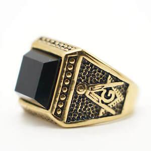 MENDEL Mens Black Gold Freemason Stone Masonic Ring Stainless Steel Size 7-15