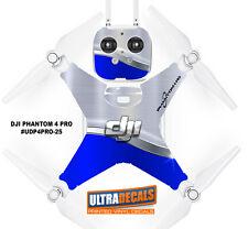 Blue Silver DJI Phantom 4 Pro Skin Wrap Decal Sticker Battery Body Ultradecal