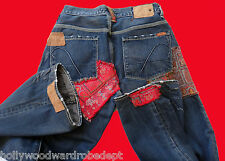 GUESS 30 Leather patchwork hippy destroyed premium jean tapestry biker denim