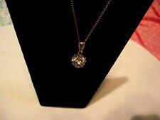 Pendant Necklace Vintage Clear Crystal Rhinestone Ball 12KT Gold  Necklace