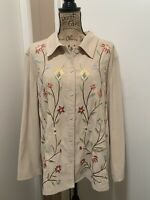 Susan Graver Womens Moleskin Embroidered Jacket 1X Stretch Floral Spring