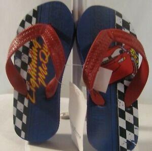 NWT Disney Store Cars Flip Flops Sandal Shoes Size 7-8 Lightning McQueen