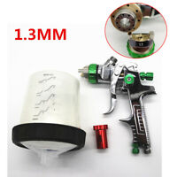 Car Auto Paint Airbrush HVLP Spray Gun 1.3mm Nozzle w/Adapter 600ml Tank Green