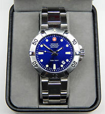 """WENGER SWISS MILITARY MENS SEAFORCE 200M DIVE WATCH 6 3/4"""" inch band New battery"""