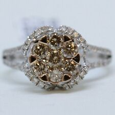 NWT $2910 Zales 1 1/4 ctw Rose Gold White Champagne Flower Diamond Ring